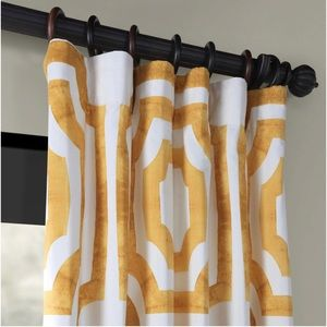 Mecca Gold Printed Cotton Curtain- 1 panel